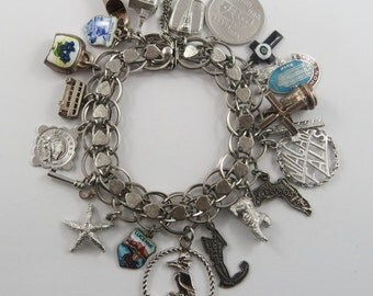 "7"" Vintage Sterling Silver Charm Bracelet With 21 Charms"