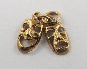 Comedy & Tragedy Mask 10K Gold Vintage Charm For Bracelet