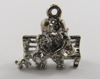 Couple Kissing on Bench Sterling Silver Vintage Charm For Bracelet