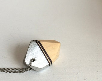 Geometric wooden pendant - silver 007