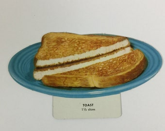 Toast on a Plate Vintage 1960s School Nutrition & Dietary Cardboard Picture Flash Card