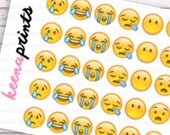 A112 | NEGATIVE EMOJIS Repositionable Stickers Perfect for Erin Condren Life Planner, Filofax, Plum Paper & other planner or scrapbooking