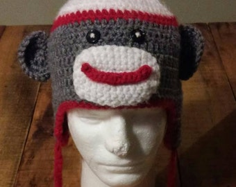 Sock Monkey Hat with Earflaps