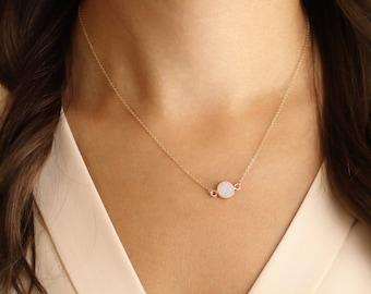 Small Druzy Necklace, Gold Druzy Necklace, raw crystal necklace, gold filled necklace,quartz crystal necklace//N-138