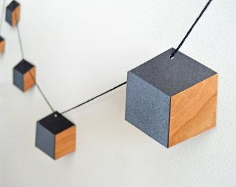 Geometric Garland. Black/Charcoal/Wood