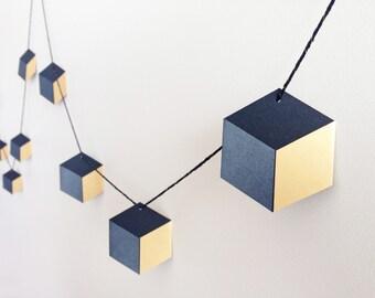 Geometric Garland. Black/Charcoal/Gold