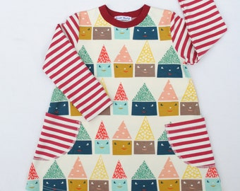 Birch Organics Girl Dress,Organic Baby Dress,Organic Toddler Dress,Happy Town (Happy Houses) Fall Dress