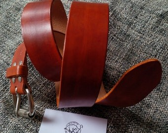hand made, genuine leather belt, hand tanned ''british dark tan'', with sturdy buckle.