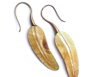 Exclusive Hand-Carved Mother of Pearl Feather Earrings