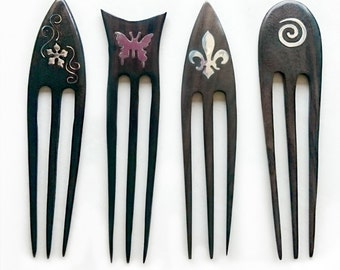 Variations Of Cute Triple-Prongs Hand-Carved Wood Hair Sticks