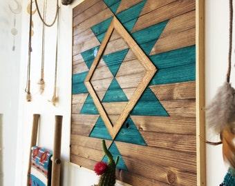 Reclaimed Wood Wall Art - Wooden Wall Art - Geometric Wood Art - Wooden Wall Art Hanging - Modern Wood Art - Boho Wood Art - Wood Wall Decor