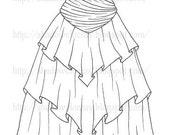 Sheer Ruffled Gown Digital Stamp