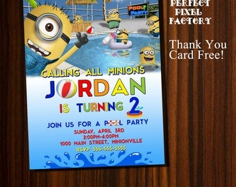 Minions invitation,minions birthday,minions pool partyminions,despicable me, kids birthday,pool party,beach birthday, pool birthday