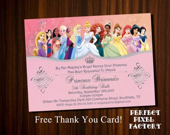 DISNEY PRINCESSES INVITATION, Princess Invitation,Princesses Invitation, Printable Invitation, Party,Princesses Birthday,PerfectPixelfactory