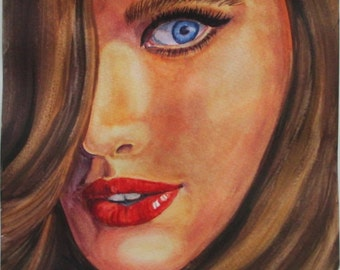 close up of a woman in watercolor