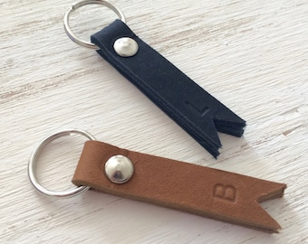 Custom Personalized MINI Leather Key Chain - Brown or Black Leather