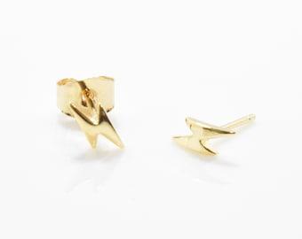 Tiny Lightning Post Earring . Lightning Brass Earring . Thunder Post Earring . 16K Polished Gold Plated over Brass - 2pcs / ZE0013-PG