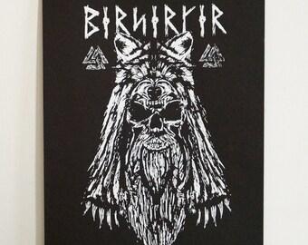 Viking Berserker A3 Screenprint - vikings, mythology, print, norse, wolf, skull