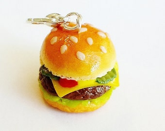 Handmade Cheeseburger Charm - Polymer Clay Food Hamburger - Miniature Food Jewelry - Cheeseburger Jewelry