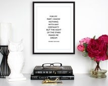 "Motivational Print, ""For My Part I Know Nothing"" Vincent Van Gogh Quote, Instant Download, Printable Quote, Typography Print"