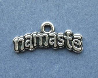 5 Namaste Charms - Namaste Pendants - Namaste - Yoga Charms - Mantra Charm - Word Charm - Antique Silver - 21mm x 9mm  --(V2-10054)