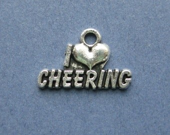 10 I Love Cheering Charm - I Love Cheering Pendant - Cheer Leading Charm - Cheer - Antique Silver - 20mm x 13mm -- (W7-10193)
