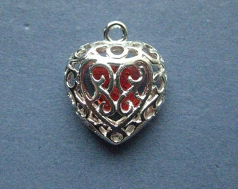 4 Heart Charms - Heart Pendants - Heart with a Beads Charm - Love - Rhodium - 21mm x 17mm -- (G7-10916)