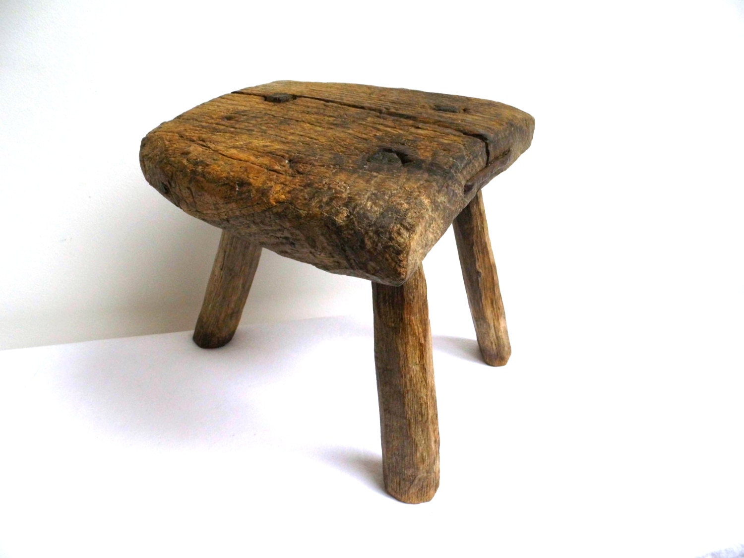 Ooak Antique Walnut Farmhouse Milking Stool Rustic Primitive