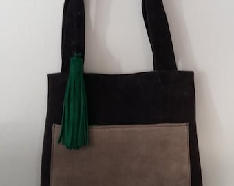 Suede leather shopping tote