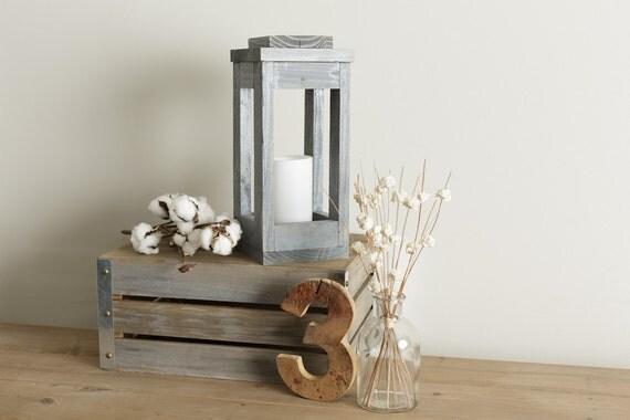 Rustic lantern candle holder centerpiece