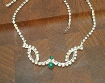 Vintage Rhinestone Emerald Necklace