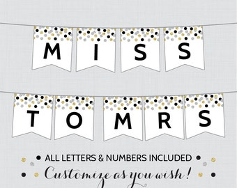Printable Banner with ALL Letters and Numbers - Black and Gold Bridal Shower Decoration - Black, Silver and Gold Bridal Shower Banner 0001-K