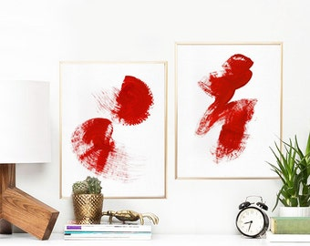 "Minimalist Set of 2 Prints, Abstract Watercolor Art Print, Printable Art Set, Brush Strokes Wall Art, 11""x14""x2pcs. Red."