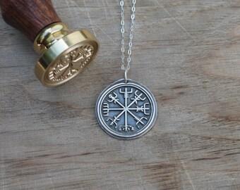 Viking rune vegvisir wax seal fine silver pendant