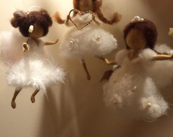 Needle felted fairy, Waldorf inspired, White Angel, Christmas ornament, Christmas angel, Nursery, Home decor