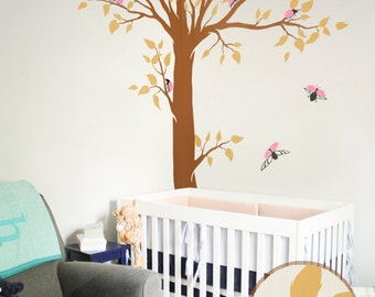 White Tree Wall Decal Huge Corner Tree With Leaves And Birds