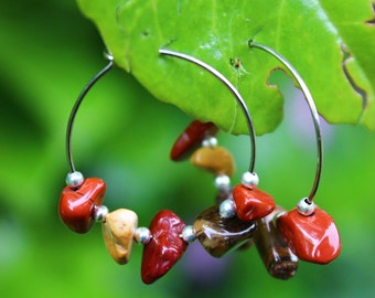 Earthy Crystal Small Hoop Earrings