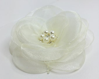 Organza Flower Hair Pin Fabric Hair Accessory Large Rose Bobby Pin Ivory Wedding Hair Pin Bridesmaid Hair Pins Pretty Bridal Flower Pin