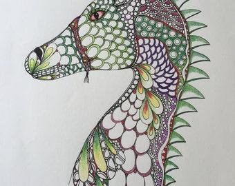 Original Zentangle Dragon,Dragon drawing,Original drawing,wall art,colored dragon,ink and colored pencils,purple green dragon