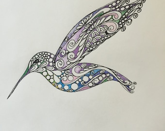 Zentangle Hummingbird, Original hummingbird,colored hummingbird,wall art,hummingbird art,original drawing,zentangle bird