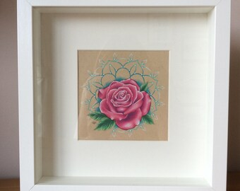 Box Framed Original Rose and Mandala Drawing // Unique // Gift for Female // Gift Idea