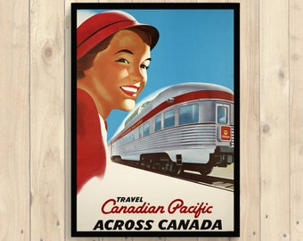 Get 1 Free Print *_* Canada Travel Poster - Travel Print Wall Art Dorm Poster Retro Travel Poster Home Decor Canadian Pacific Poster Train -
