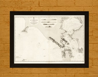 Get 1 Free Print *_* Old Map San Francisco Harbour 1856 - Ancient Map Wall Art Antique Map Poster Old Map Wall Decor San Francisco Map