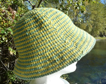 Nepalese hat woven bucket hat made in Nepal green and yellow looking much akin to a sunflower blossom