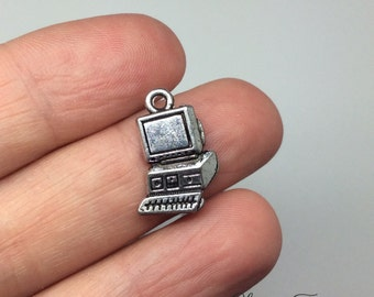 8 Computer Charms- 17x13 mm - Antique Tibetan Silver Tone- One Sided Charm- Technology Theme Ref. 723