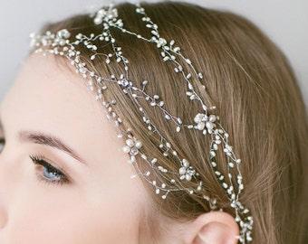 Garden Romantic Wedding Rhinestone and Pearl Tiara For Bride