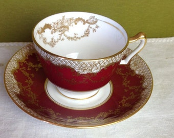 1930 Antique Fine Bone China Crown Staffordshire England Tea Cup Set Burgundy/Maroon and Gold