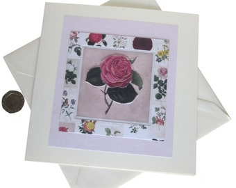 Pink Rose Card, Decoupage Card, Rose Card, Floral Card, Birthday Card, Vintage Look Card, Card for mum, Card for female