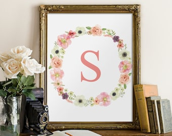Nursery initial floral, kids wall art, monogram print, nursery decor, monogram art, initial print, printable monogram, floral initial BD-484
