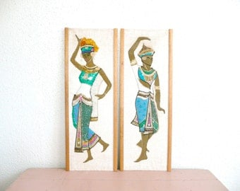 Vintage Mid Century Modern Pair of Gravel Art Wall Hangings--Egyptian Man and Woman